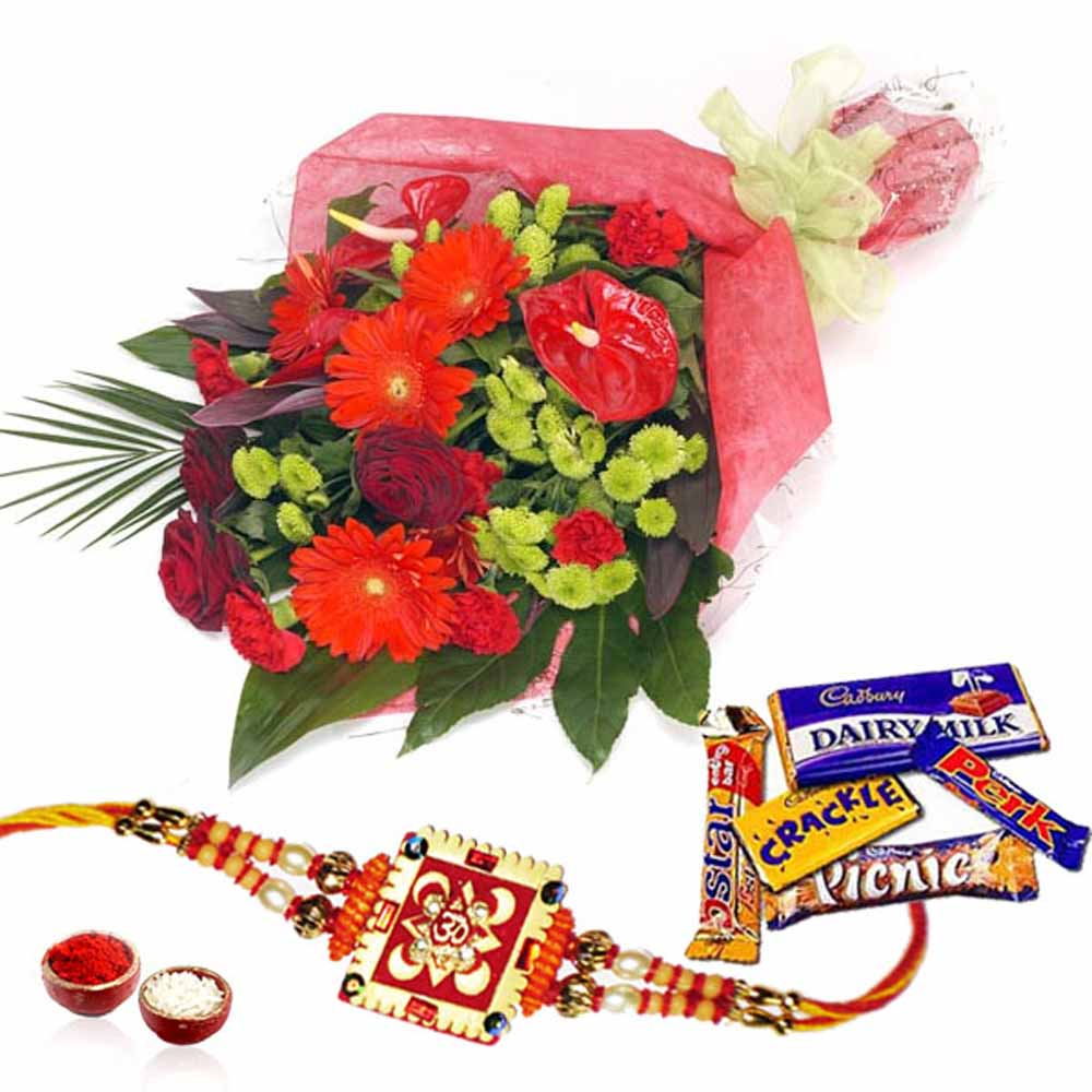 Mix Cadbury Chocolates with Flowers and Rakhi