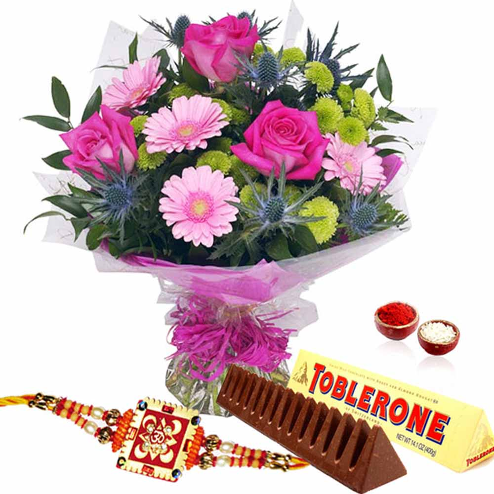 Bouquet of Pink Flowers with Tolerance Chocolate and Rakhi