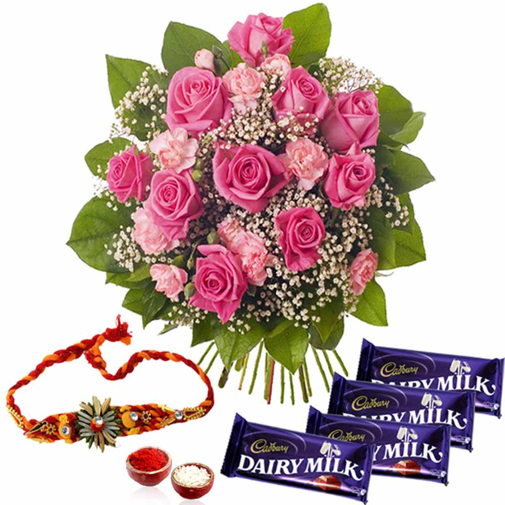 Rakhi Gift of Pink Flowers with Cadbury Dairy Milk Chocolate