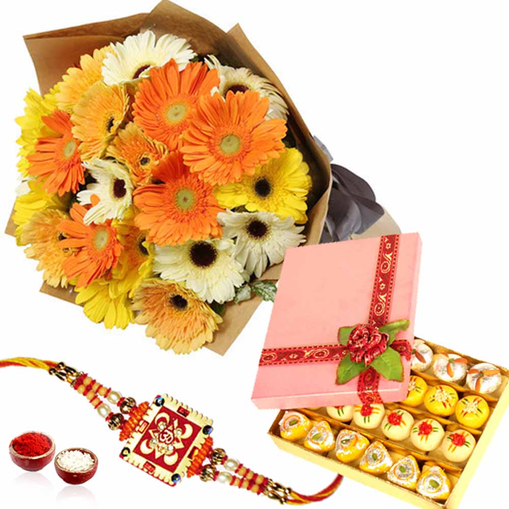 Flowers with Mix Mithai and Rakhi