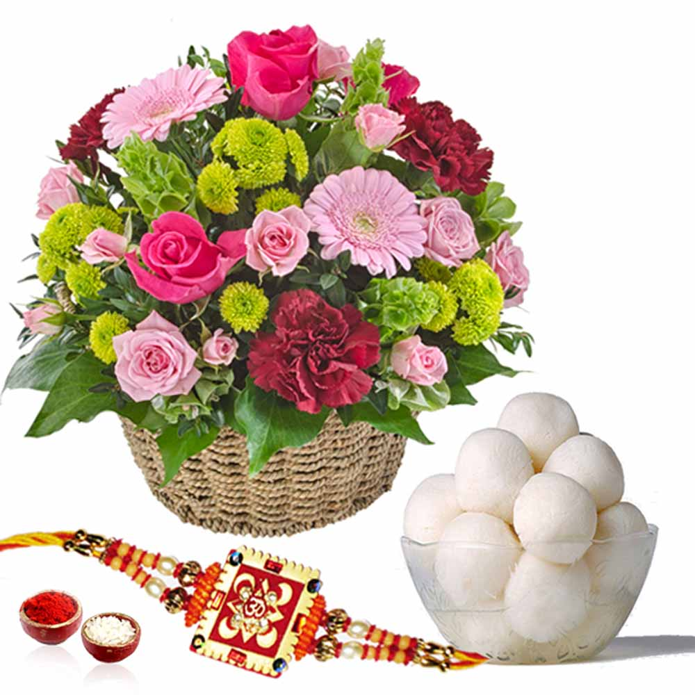 Rasgulla and Rakhi with Fresh Flowers Basket