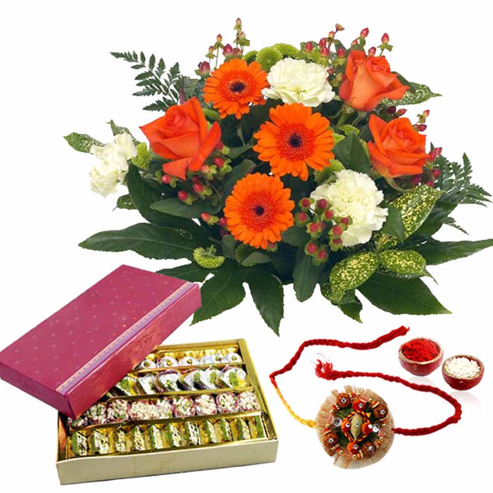 Rakhi Flower Hampers-Assorted Sweets with Rakhi and Flowers Bouquet
