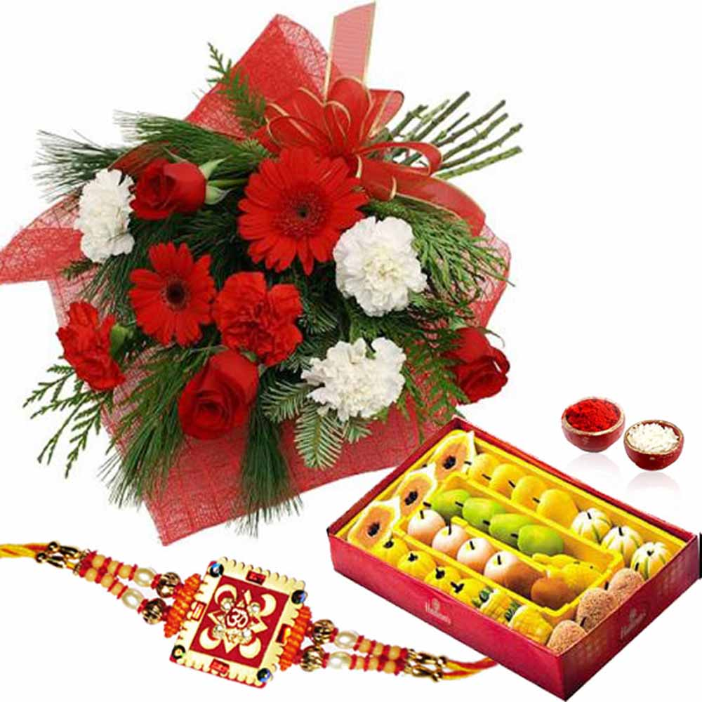 Rakhi Flower Hampers-Red and White Flowers with Rakhi and Sweets
