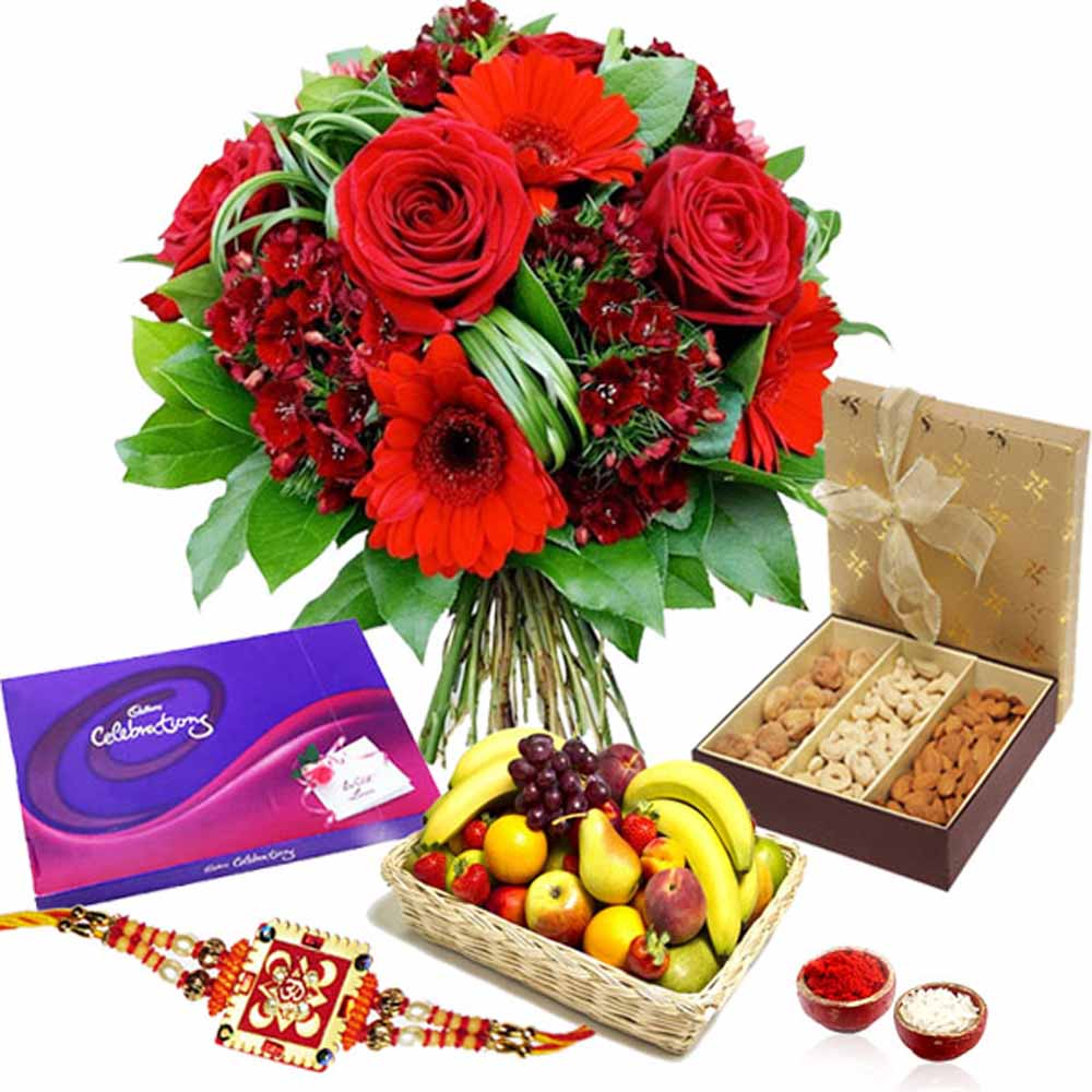 Rakhi Flower Hampers-Rakhi Exotic Hamper