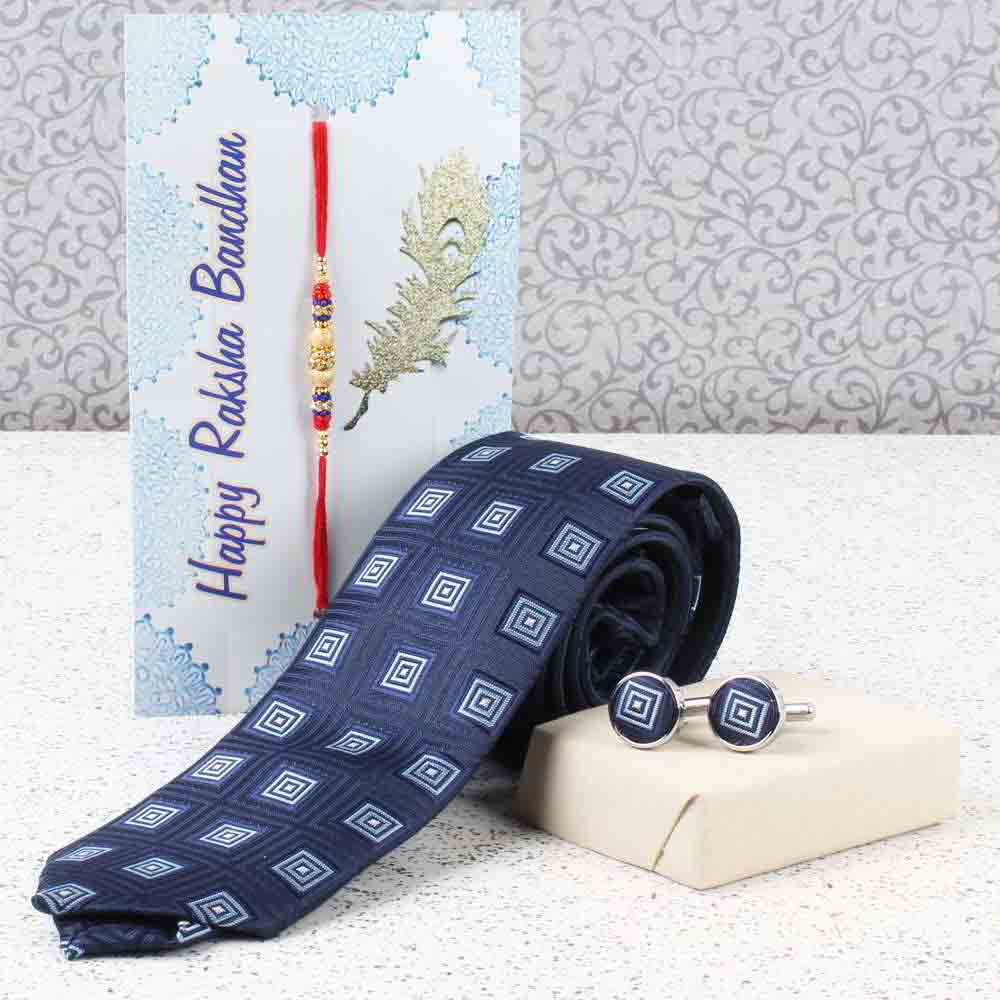 Rakhi Hampers-Navy Blue Weaved Printed Tie and Cufflink Rakhi Set