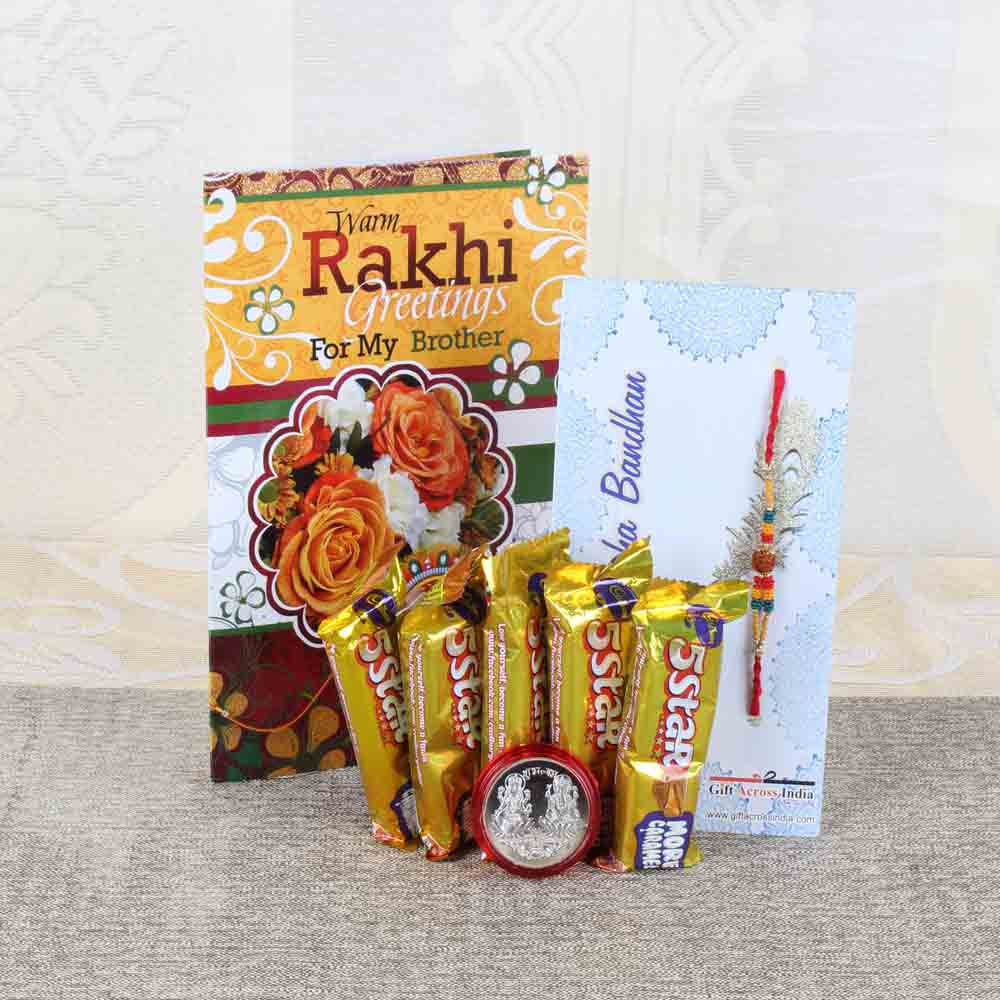 Rakhi Hampers-Devin Rakhi with Five Star Chocolate Bars