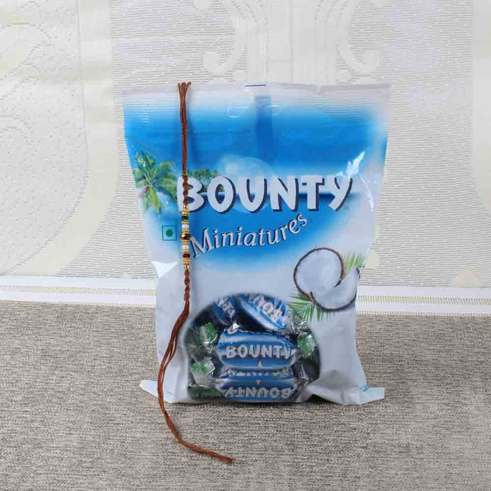 Rakhi with Bounty Miniatures Chocolate Pack