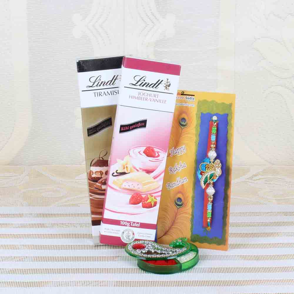 Rakhi Hampers-Designer Rakhi with Lindt Chocolates Bar Combo