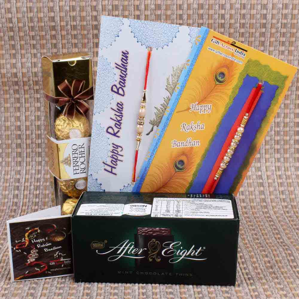 Rakhi Hampers-Pearl Rakhi with After Eight and Ferrero Rocher Chocolate
