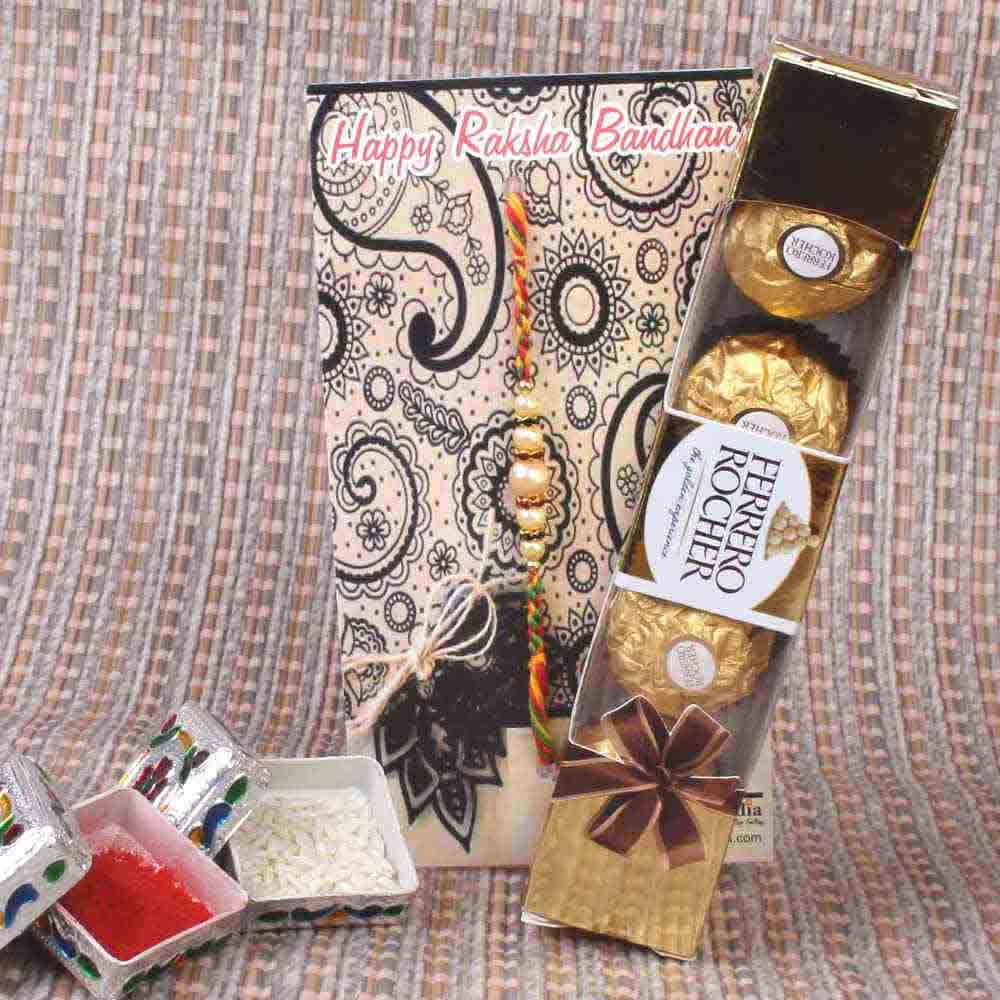 Rakhi Hampers-Pearl Beads Rakhi and Ferrero Rocher Chocolate Gift