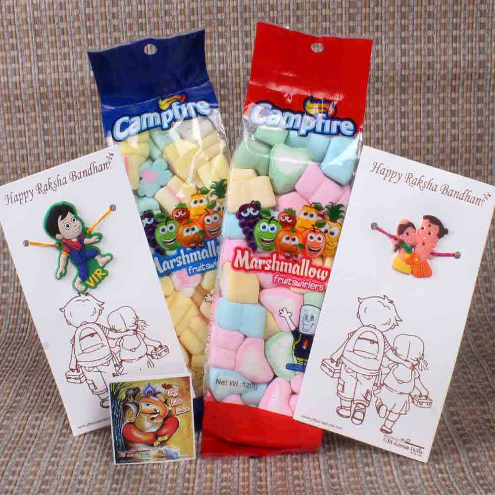 Two Cartoon Character Kids Rakhi with Marshmallow Chocolate