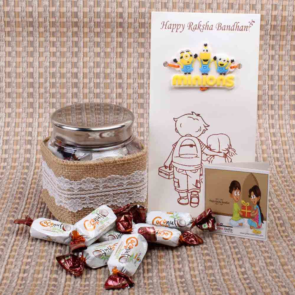 Rakhi Hampers-Coconut Boost Toffees with Minions Kids Rakhi