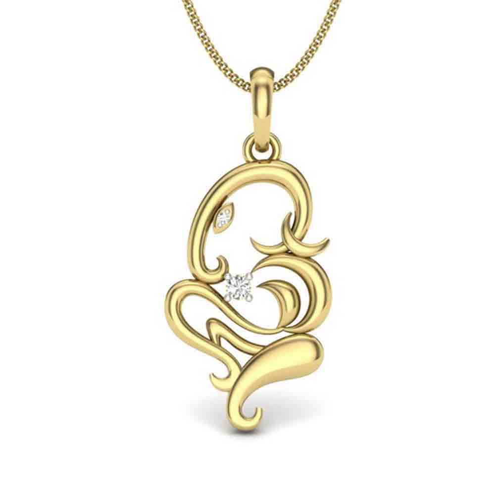 Gifts for Brother-18 KT GOLD BUDDI GANAPATHI DIAMOND PENDANT