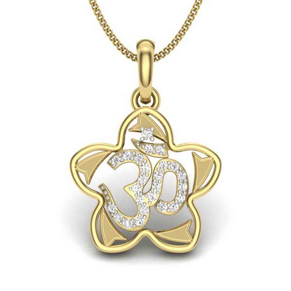 Gifts for Brother-18 KT GOLD OM SITHARA DIAMOND PENDANT