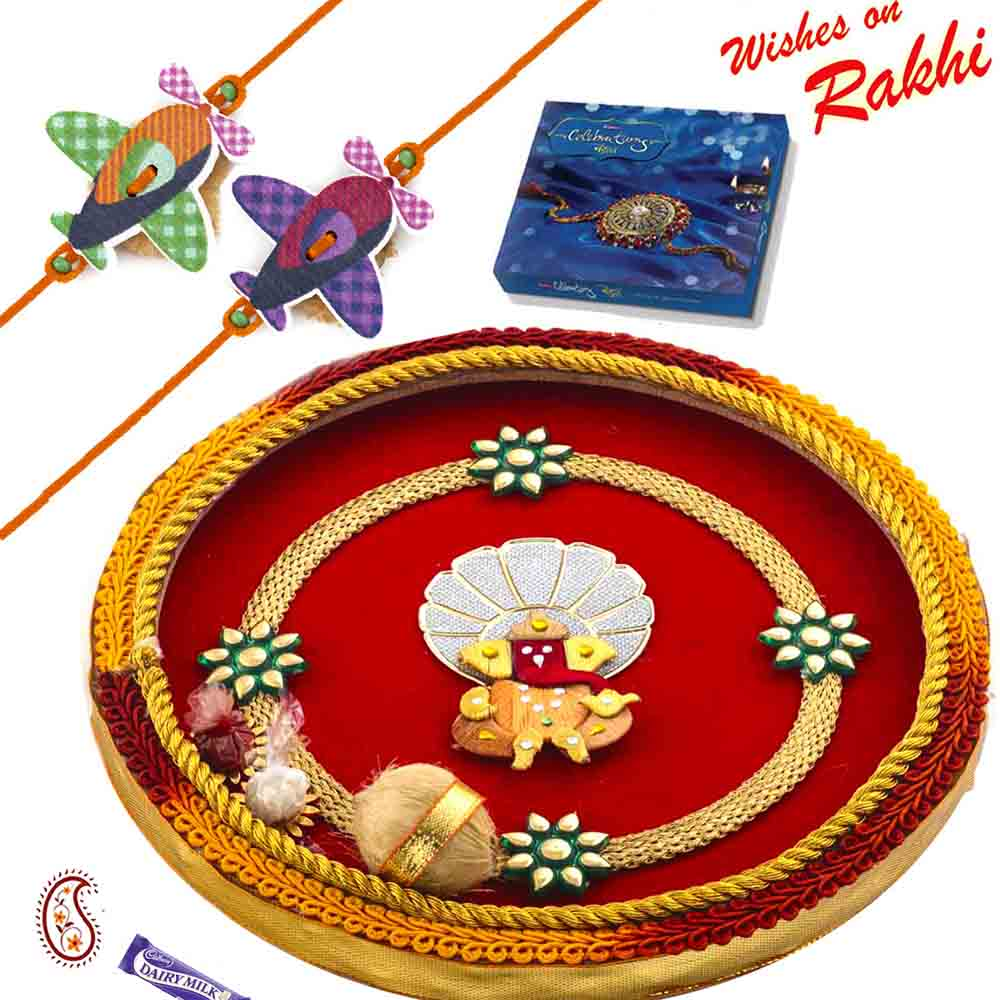Handcrafted Ganesh Motif Thali Hamper with Set of 2 kids Rakhis