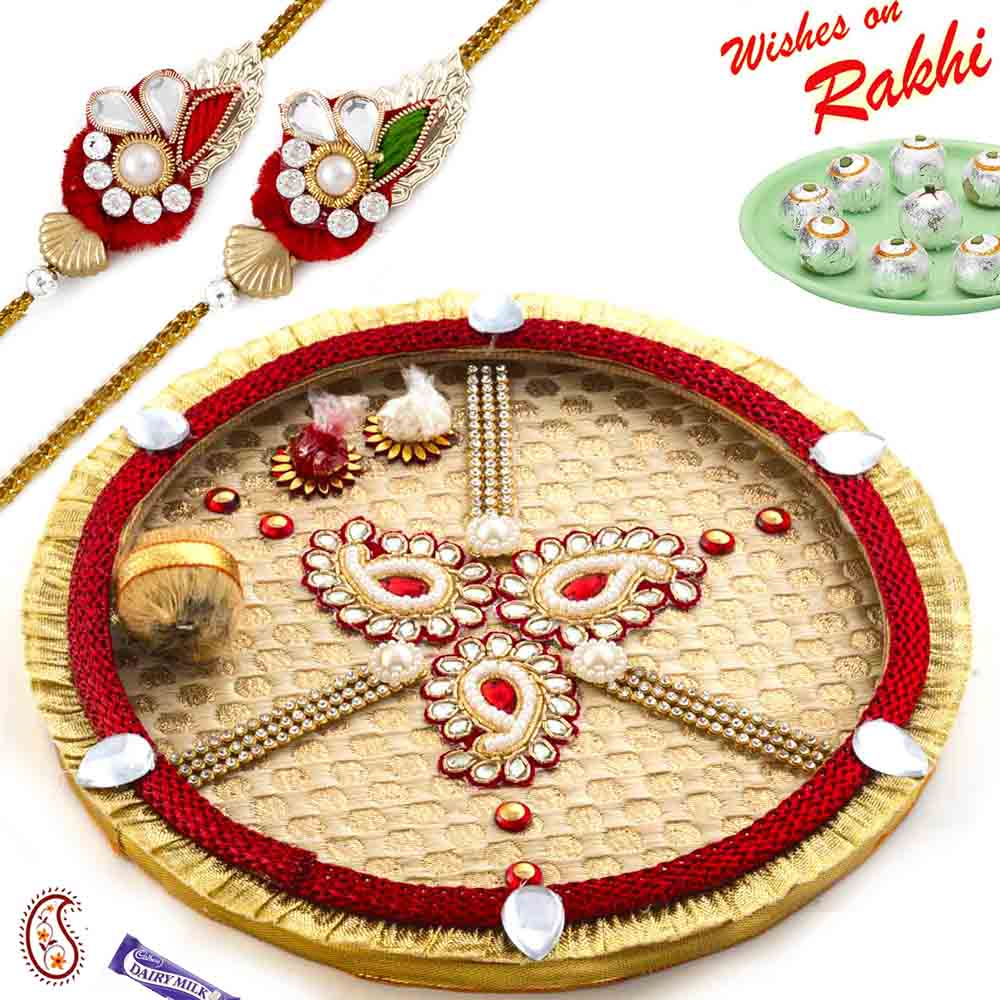 Tri Paisley Design Thali Hamper with Set of 2 Rakhis