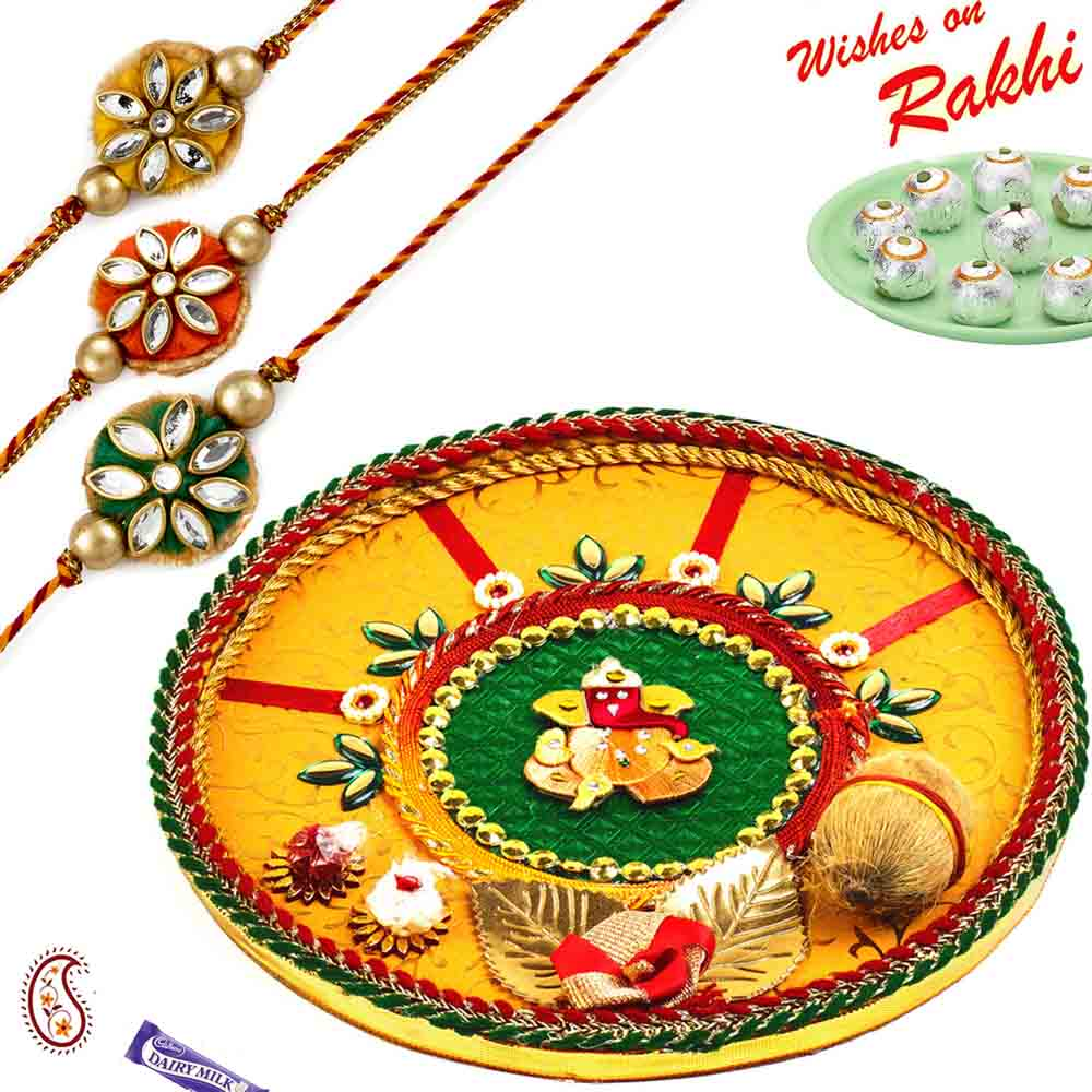 Yellow & Green Ganesh Motif Thali Hamper with Set of 3 Rakhis