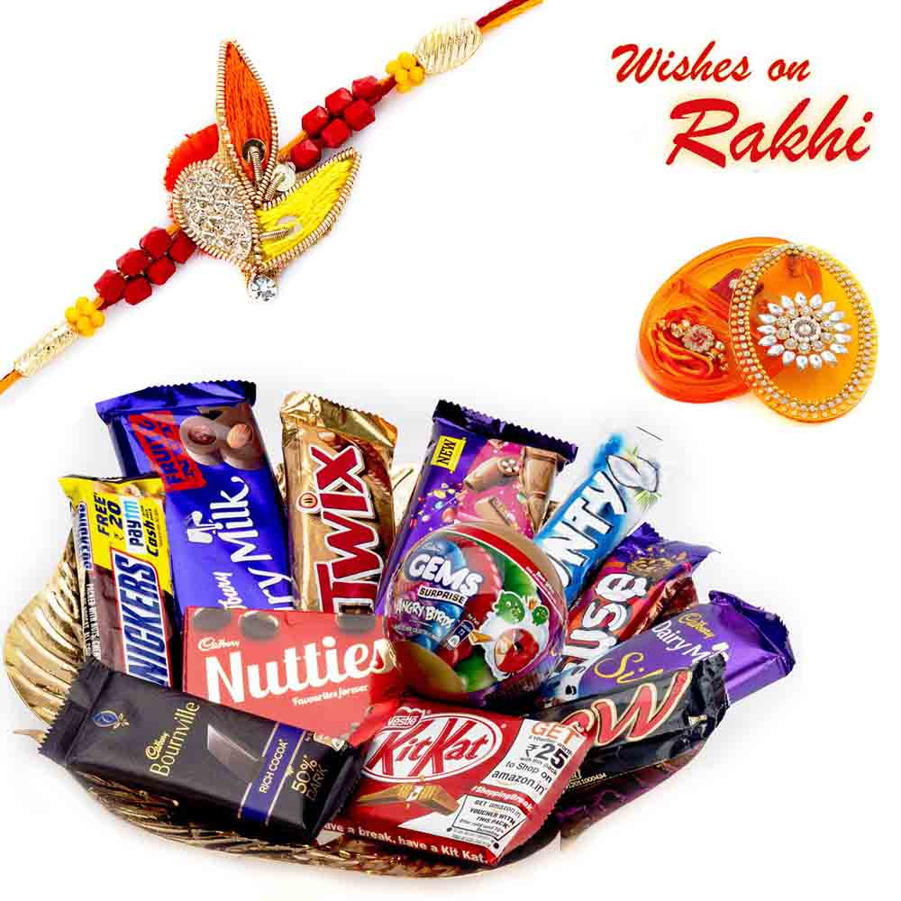 Golden Gift Tray with Rakhi & Chocolate Hamper
