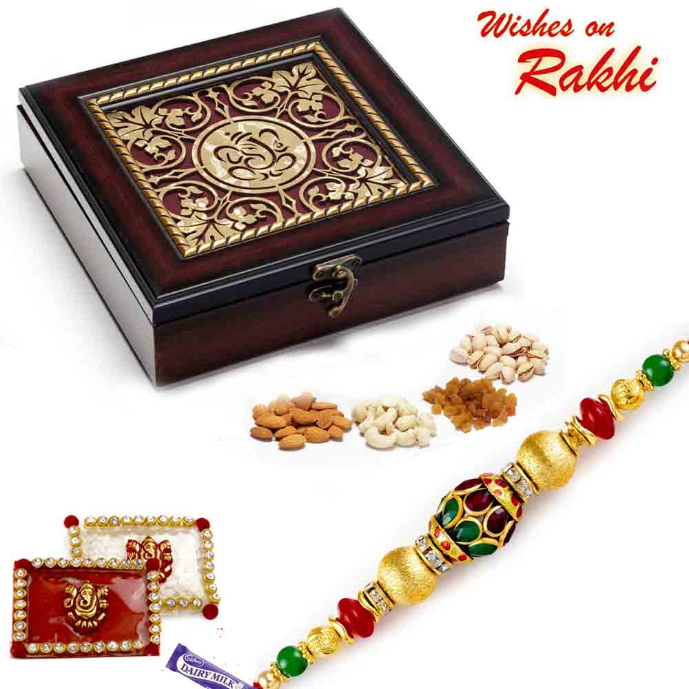 Laser Cut Ganpati Design Gift Box and Rakhi Hamper