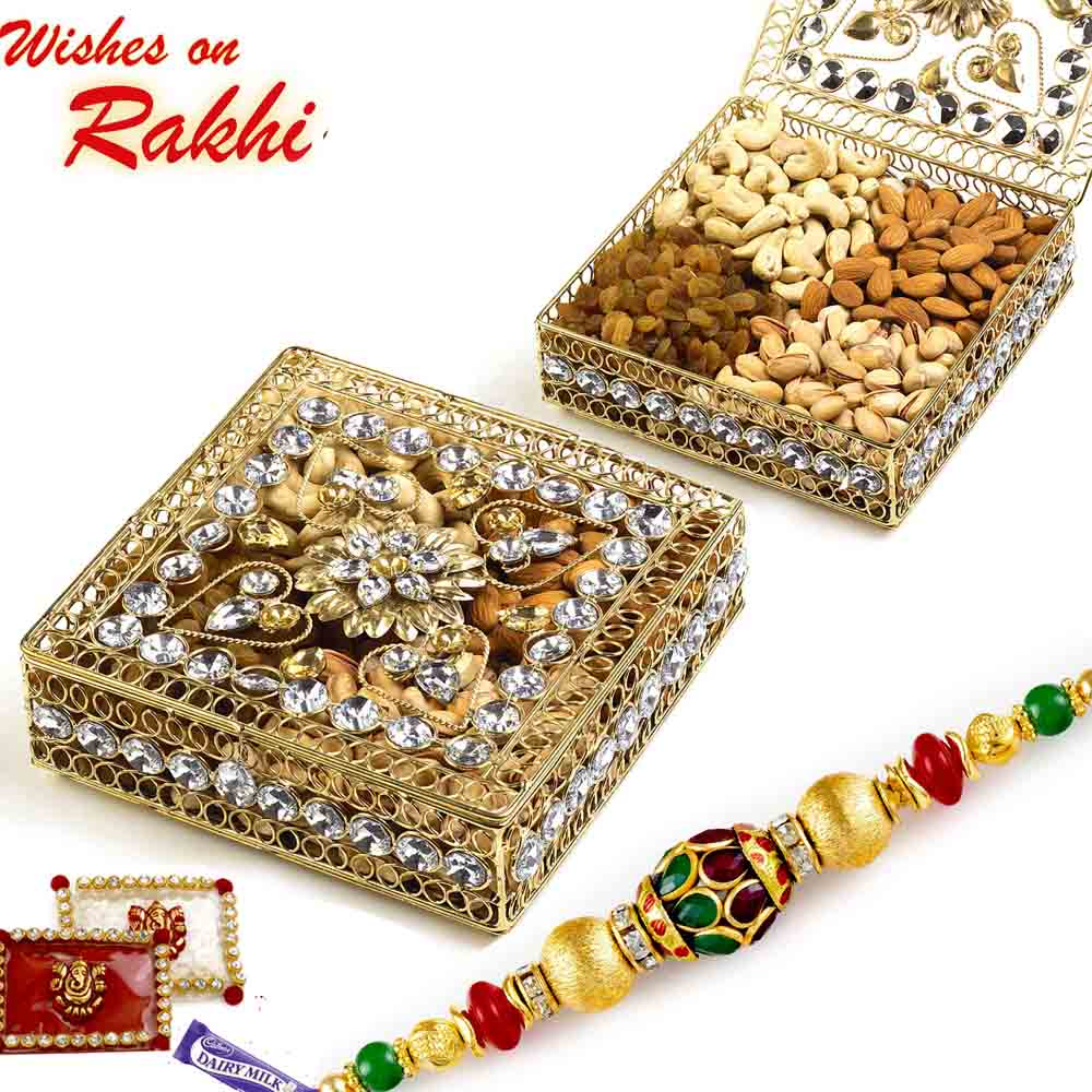 Floral Design Jaal Pattern Dry fruit Box with Rakhi Hamper