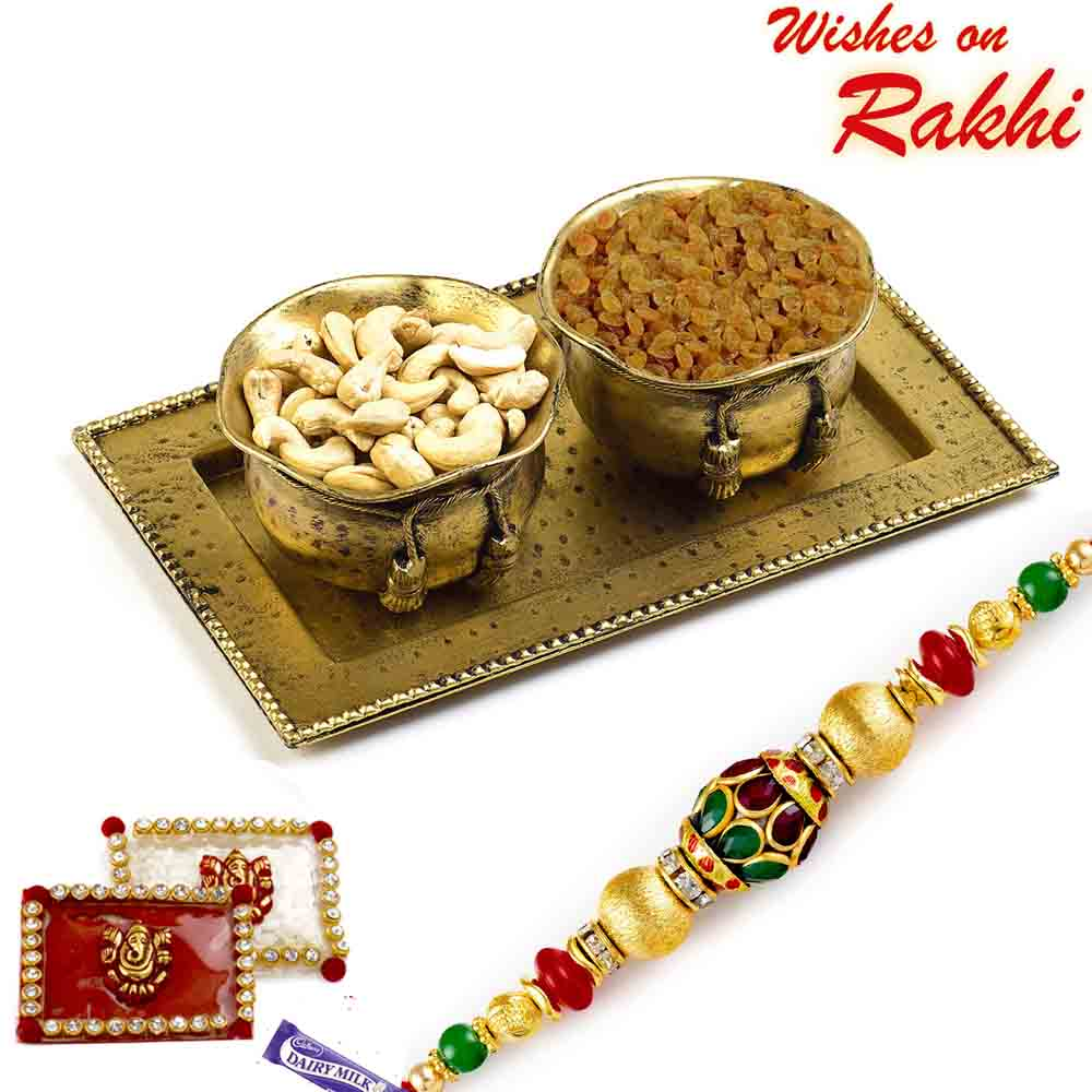 Dry fruit Bowl Set in Antique Finish and Rakhi Hamper
