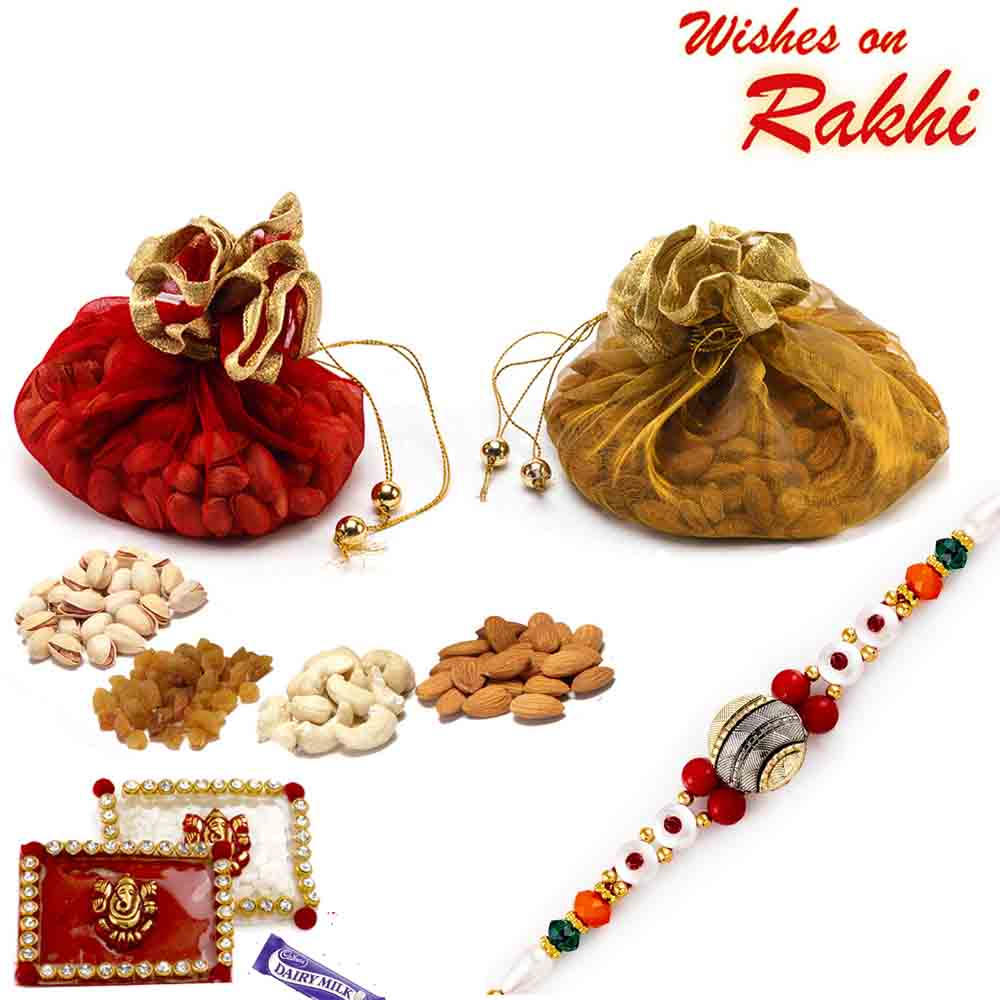 Colorful Pouches with Assorted Dryfruits & Beads Rakhi