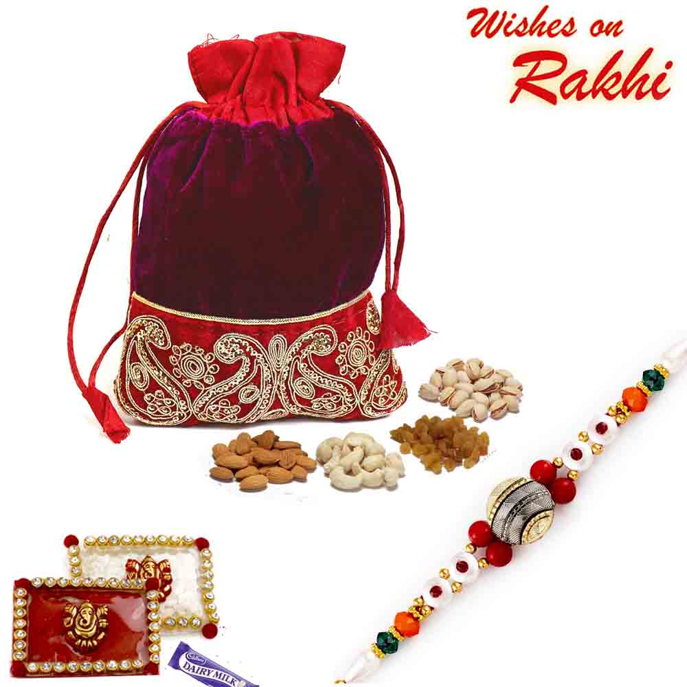 Purple & Red Velvet Dry fruit Pouch and Rakhi Hamper