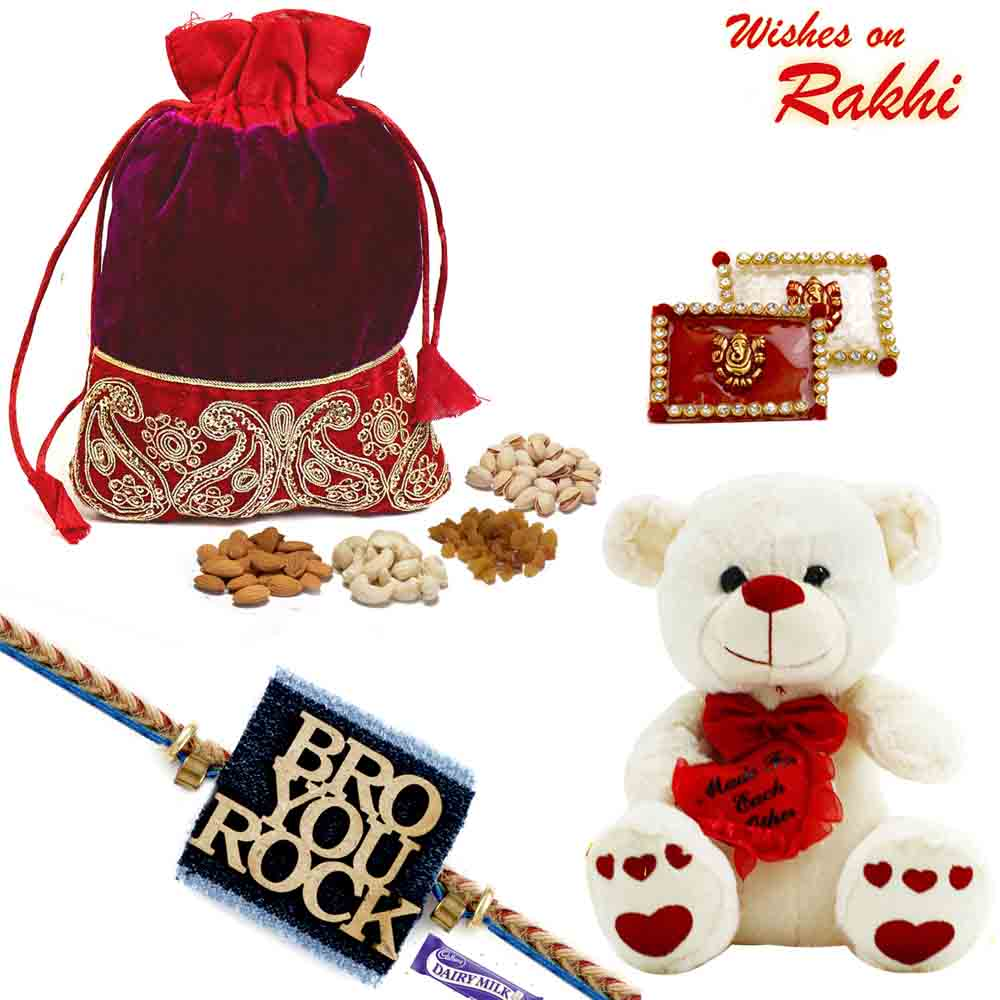 Red Zardosi Pouch with Assorted Dryfuits and Teddy Rakhi Hamper