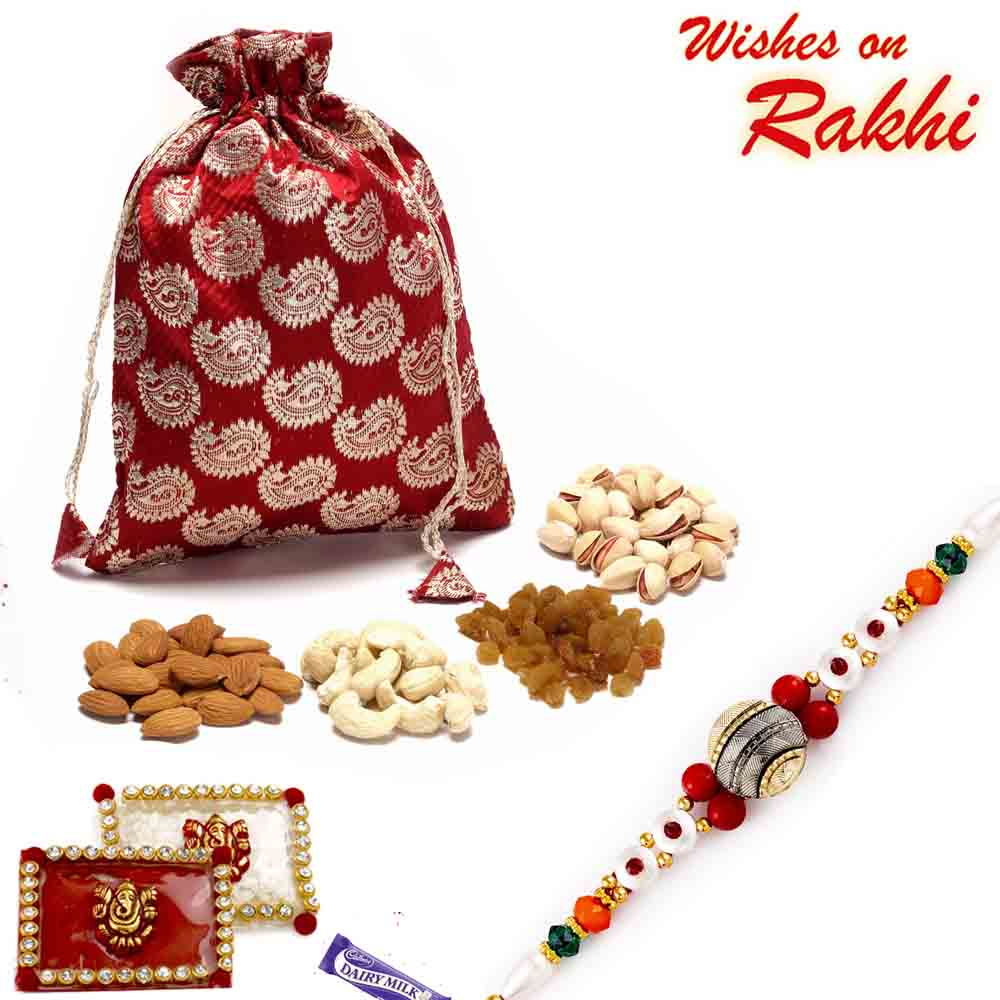 Brocade Silk Dry fruit pouch with Rakhi