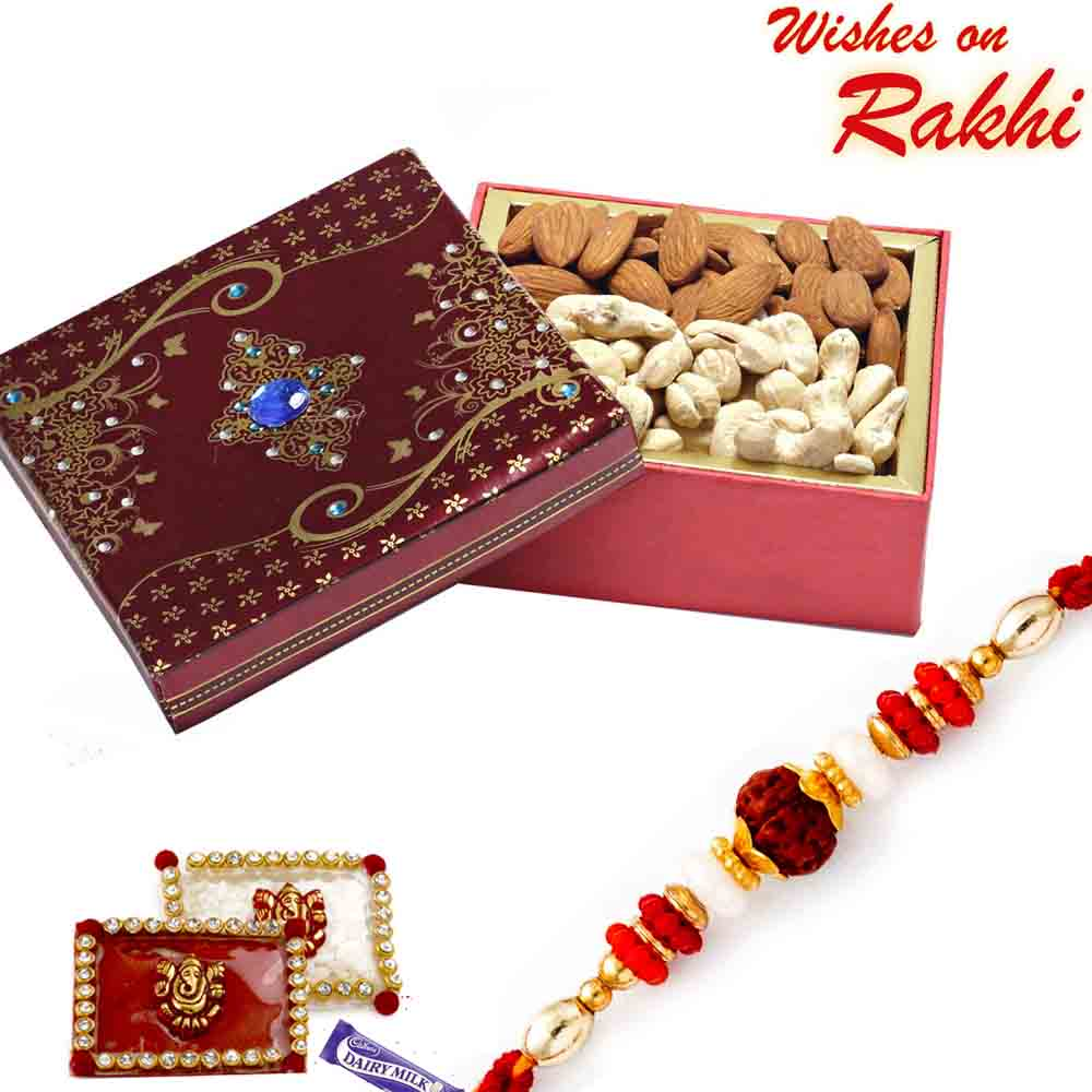 Cashew and Almonds Box with FREE Rakhi and Tilak