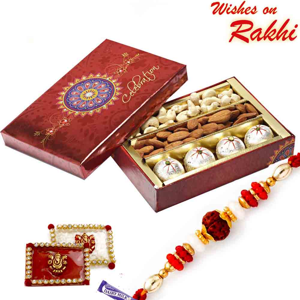 Decorated Box of Kaju Laddoos , Dryfruits and Rakhi