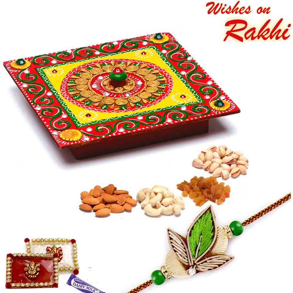 Square Designer Box with Dryfruits & Bhaiya Rakhi