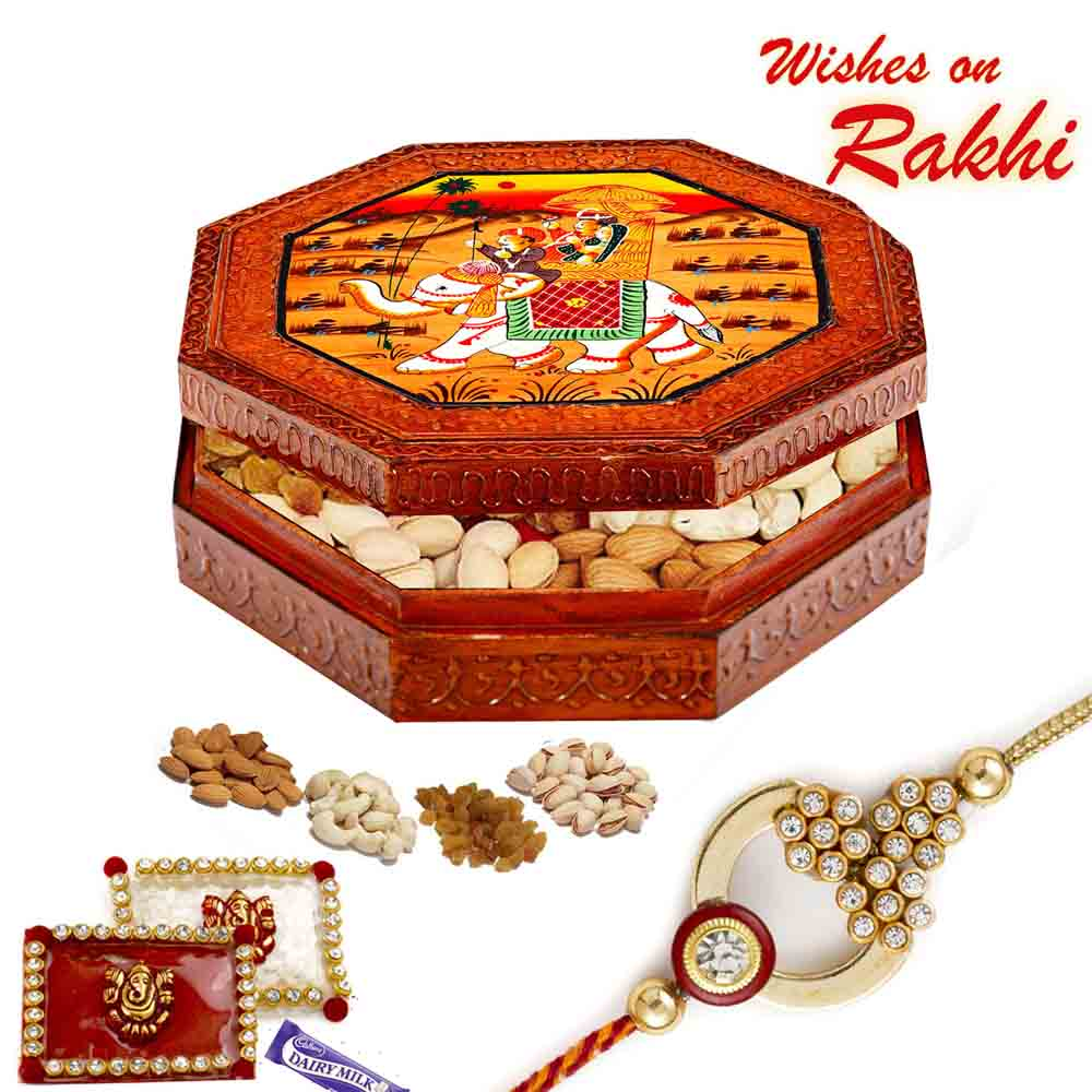 Designer Dryfruit Box with Rakhi