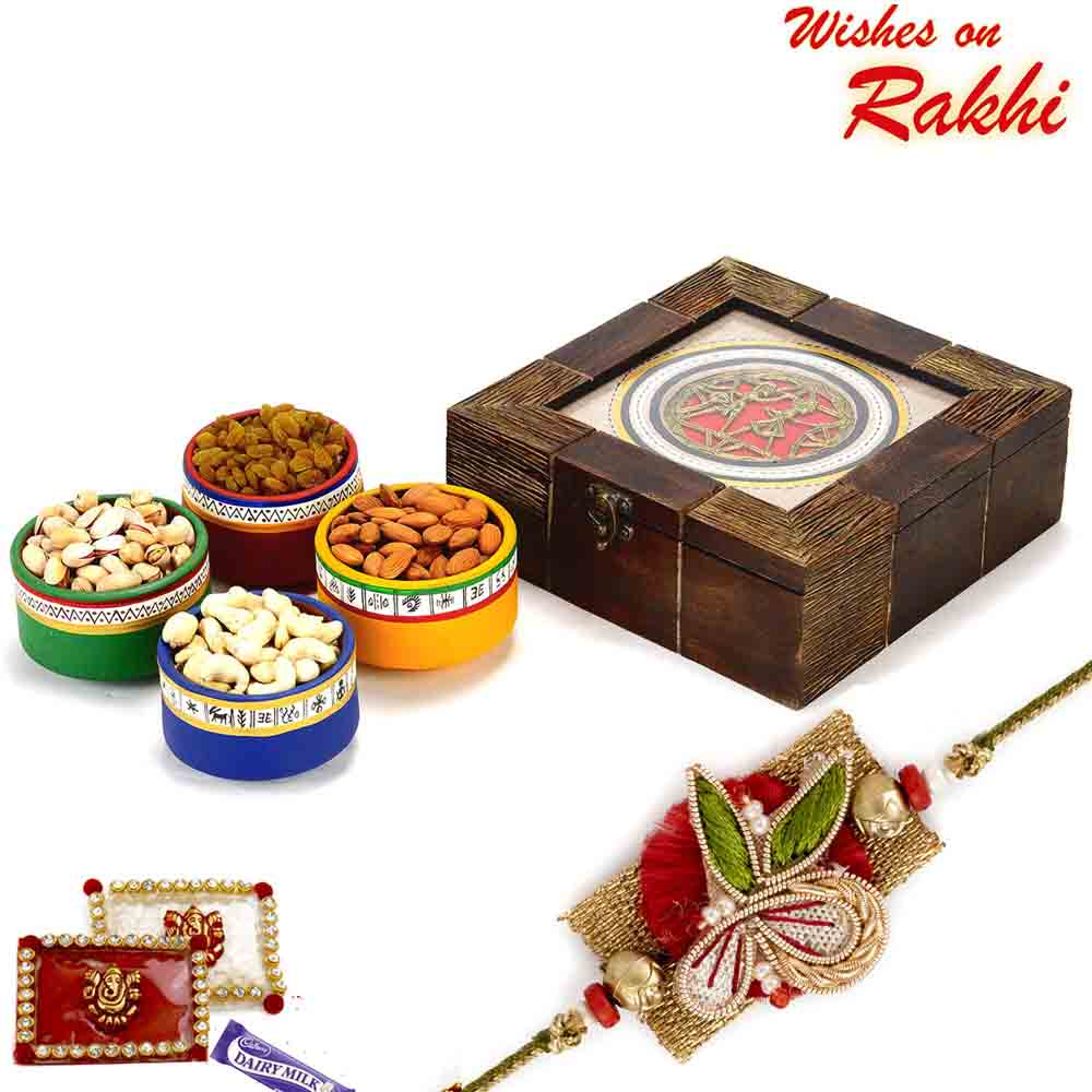 Wooden Box with Multicolour Terracota Dryfruit containers and Rakhi