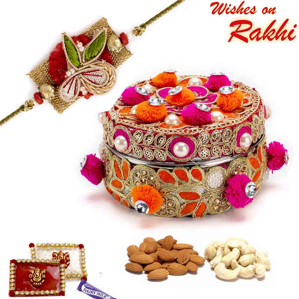 Red & Orange Cotton Balls Dryfruit Box with 1 Bhaiya Rakhi