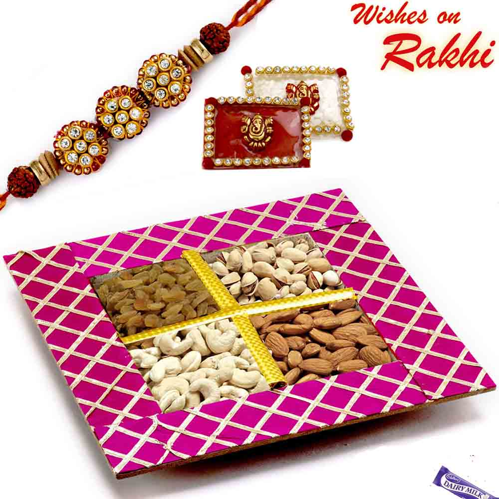 Purple Dryfruit Gift Box with 1 Zardosi Rakhi