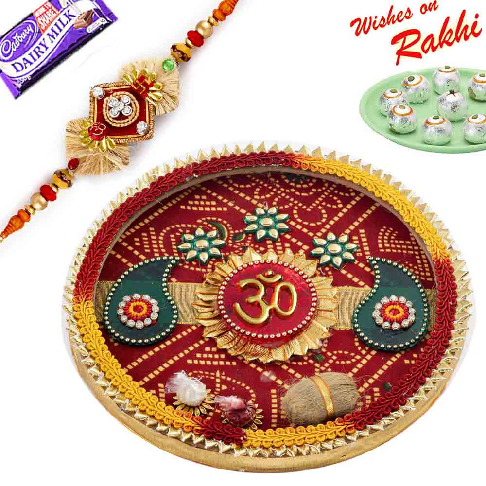 Traditional Bandhni Rakhi Pooja Thali with 1 Charming Rakhi
