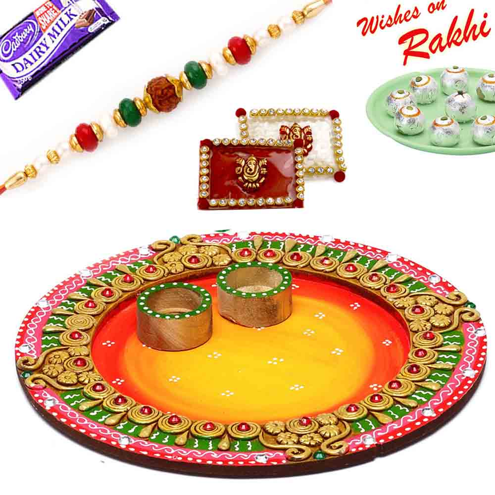 Lovely Shades Round Rakhi Pooja Thali with 1 Charming Rakhi