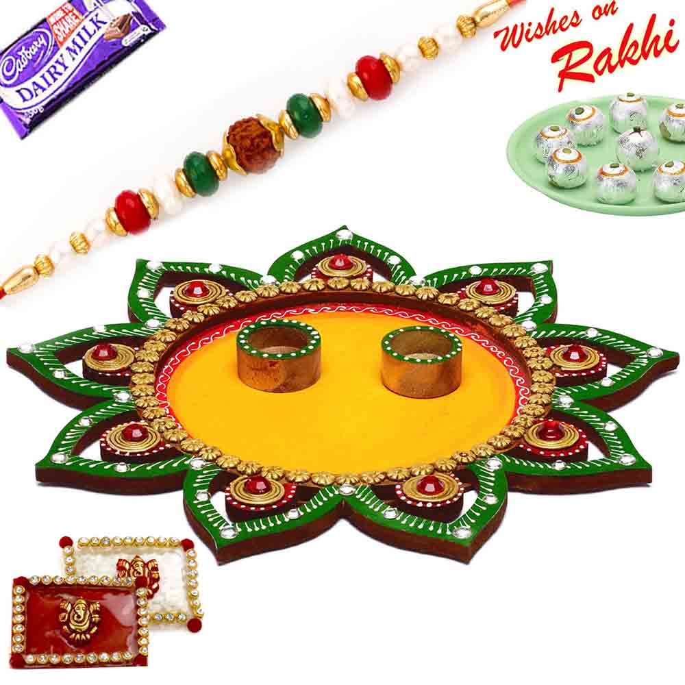 Sparkling Green & Yellow Floral Design Rakhi Pooja Thali with 1 Charming Rakhi