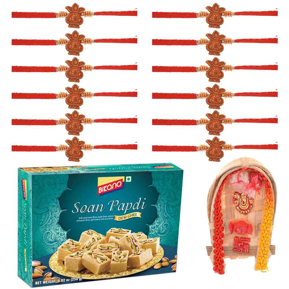 Set of 12 Rudraksh Rakhis with Bikanervala Soan Papdi