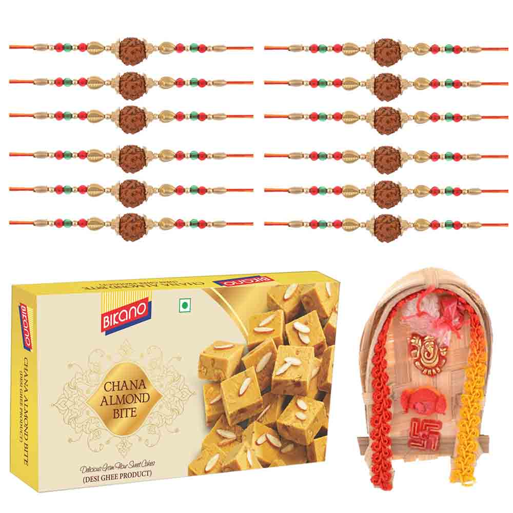 Set of 12 Rudraksh Rakhis with Bikanervala Chana Almond Bite