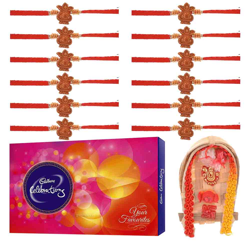 Rakhi Hampers-Set of 12 Rudraksh Rakhis with Cadbury's Celebrations