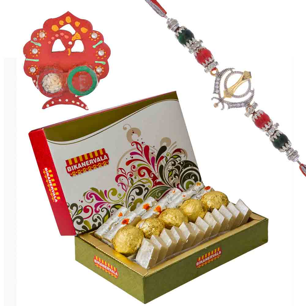 Ek Omkar American Diamond Rakhi with Bikanervala Assorted Sweets Hamper