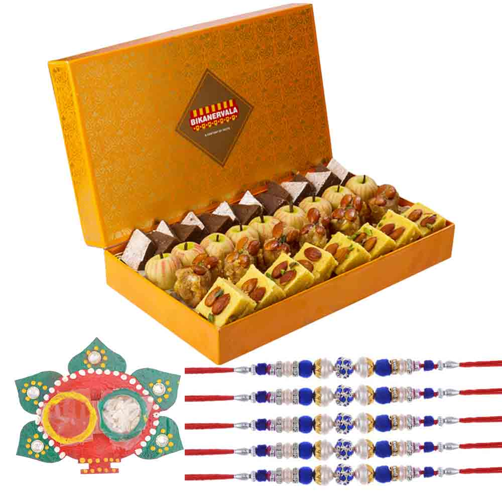 Set of 5 Pearls n Stones Rakhi with Exotic Indian Sweets