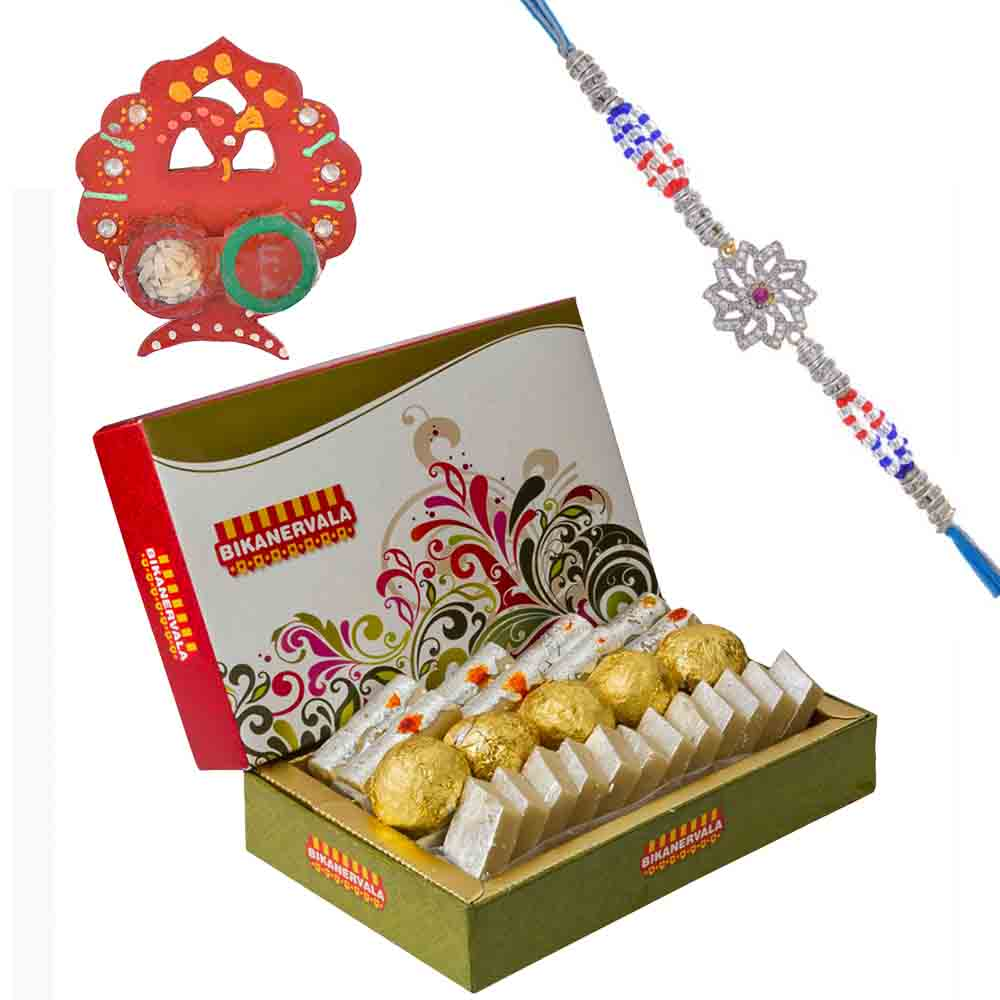 Floral American Diamond n Ruby Rakhi with Bikanervala Assorted Sweets Hamper