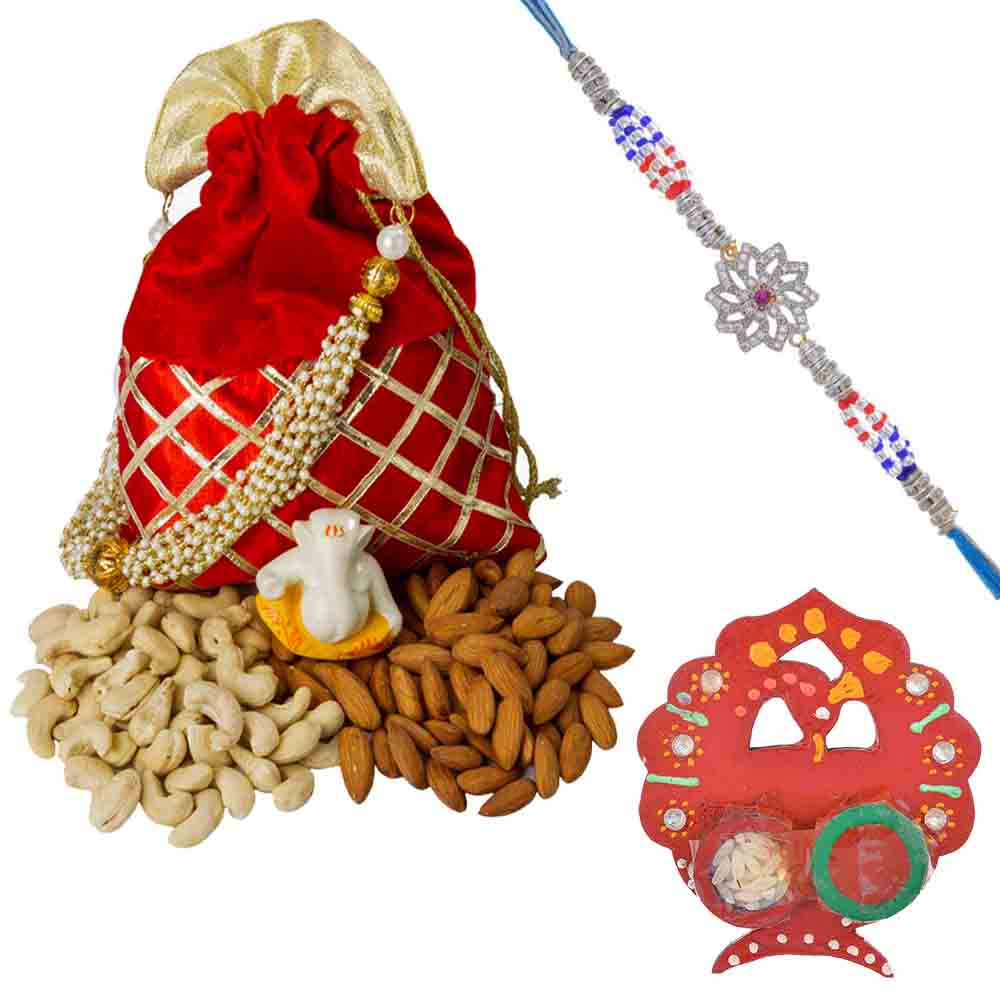 Floral American Diamond n Ruby Rakhi with designer Dry fruit Pouch