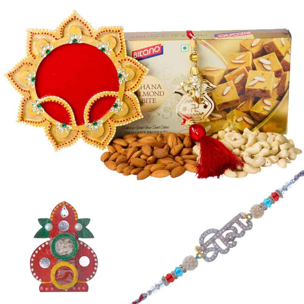 Rakhi Hampers-Veera Special American Diamond Rakhi with Bikanervala Chana Almond Bite n Dry Fruits Hamper