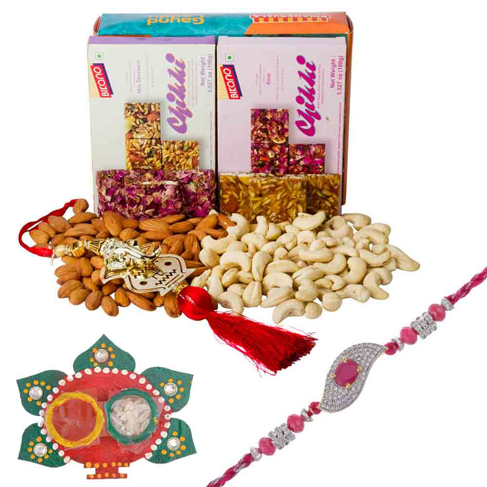 Rakhi Hampers-Ruby n American Diamond Rakhi with Bikanervala Chikki n Dry Fruits Hamper