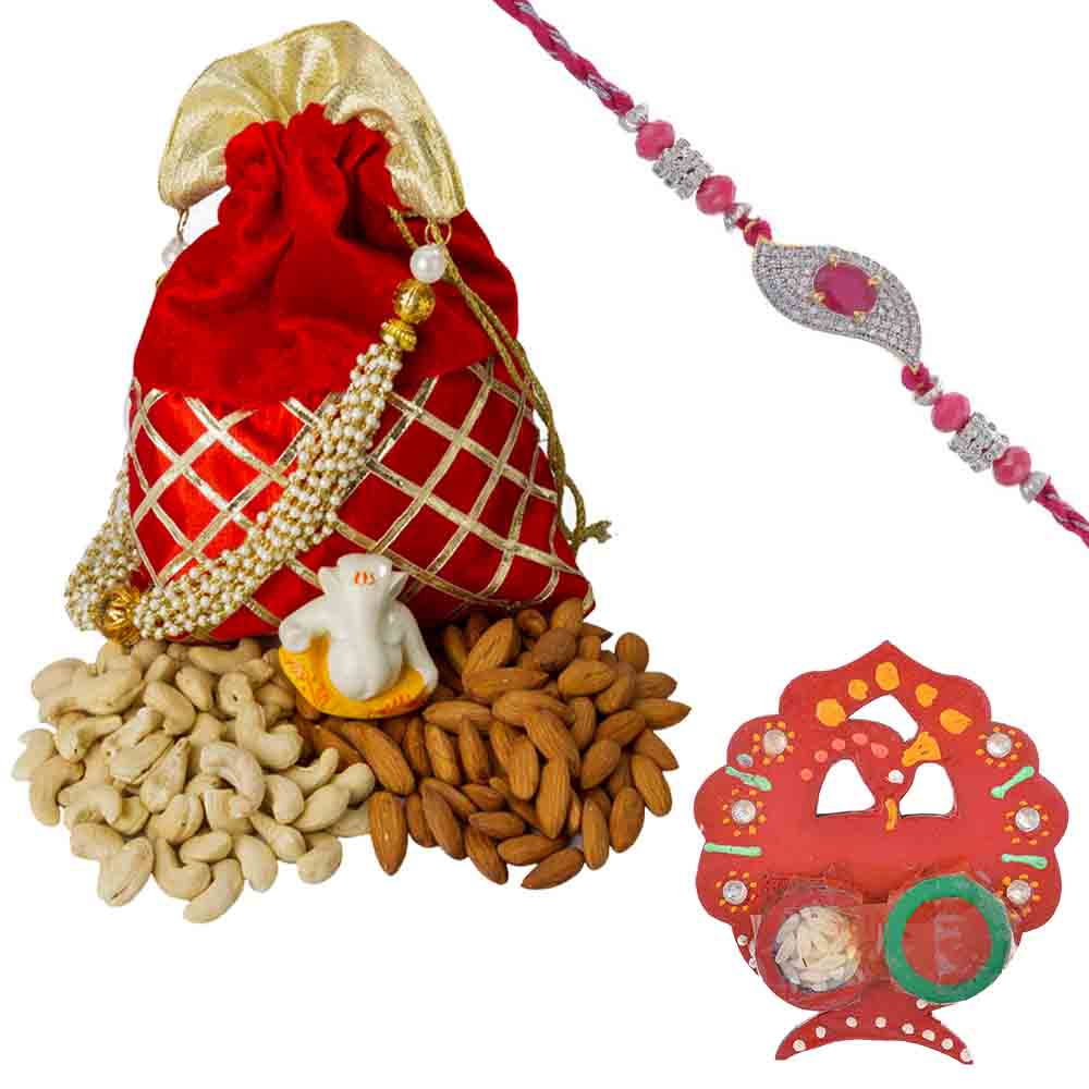 Ruby n American Diamond Rakhi with designer Dry fruit Pouch