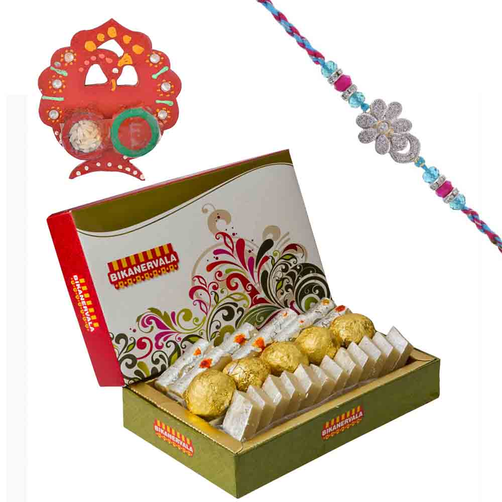 Floral American Diamond Rakhi with Bikanervala Assorted Sweets Hamper